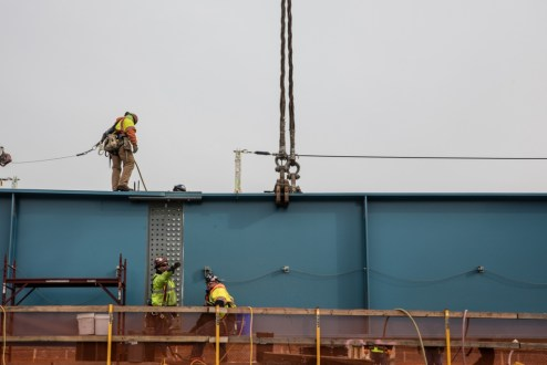 December 15, 2017 - Ironworkers connect steel girders into a larger assembly at the Westchester landing.