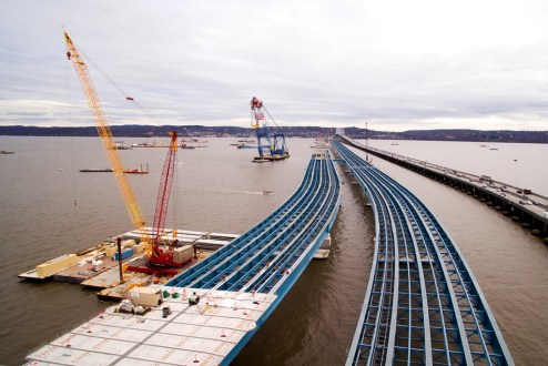 December 28, 2015 - Steel-blue girders near Rockland will soon be covered with hundreds of concrete road deck panels.