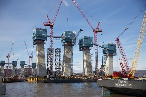 January 21, 2016 - Later this year, the new main span towers will reach their full height of 419 feet, more than 100 feet taller than the top of the steel truss of the existing bridge.