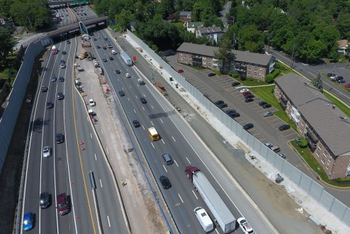 June 9, 2017 - The newly completed noise barriers in South Nyack.
