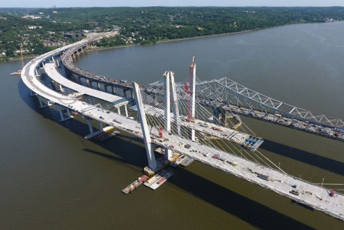 June 9, 2017 - The eastbound main span will soon connect to the Westchester approach.