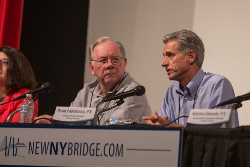 June 15, 2016 - New York State Thruway Authority leaders and senior members of Tappan Zee Constructors, LLC were on hand to answer questions posed by attendees of the 2016 annual public meetings.