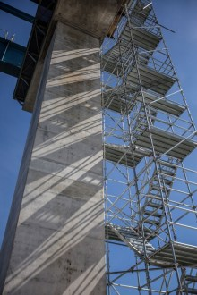 June 22, 2016 - Temporary staircases and walkways allow workers to safely access the main span towers.