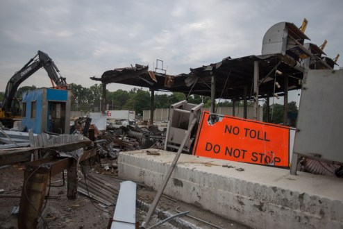 May 27, 2016 - Former toll plaza structures are demolished following the switch to cashless tolling.
