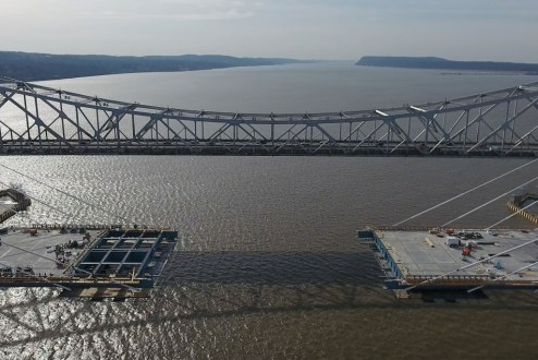 February 27, 2017 - The project team will soon connect the cable-stayed main span roadway, completing the structural steel work on the westbound span.