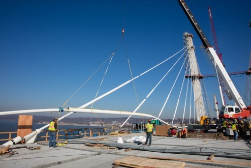 February 23, 2017 - The project's stay cables measure up to 623 feet long, requiring the assistance of multiple cranes to install.
