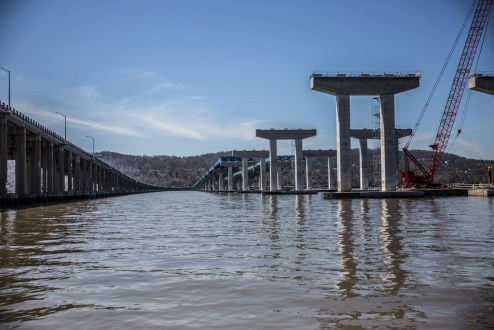 April 16, 2016 - Concrete piers at the Rockland approach will soon support the bridge's steel girders.