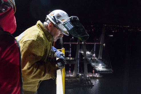 November 16, 2016 - A carpenter oversees night shift operations on the main span.
