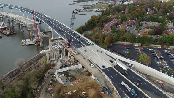 November 14, 2017 - The new bridge's first span temporarily carries eastbound and westbound New York State Thruway (I-87/I-287) traffic.