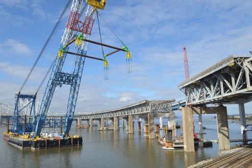 November 10, 2017 - I Lift NY is prepared for its second lift to remove a large section of the old bridge.