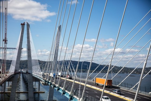 October 12, 2017 - The first span of the Governor Mario M. Cuomo Bridge temporarily carries eastbound and westbound traffic.