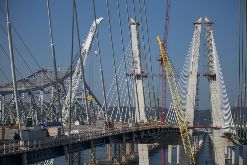 September 25, 2017 - The final section of main span steel is secured on the eastbound bridge.