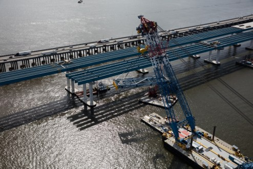 September 27, 2016 - The project's super crane, used to install the bridge's structural steel, is capable of raising up to 1,900 tons at once.