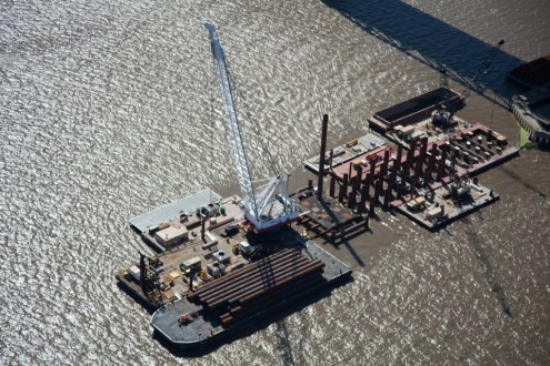 May 2014 - Aerial View of Pile Installation Work