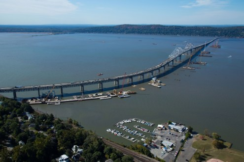 October 2014 - Aerial view of the New NY Bridge project site from Westchester County.