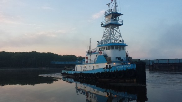June 10, 2015 - The tugboat Ocean Tower prepares to leave the dock at the Port of Coeymans in Albany County, New York.