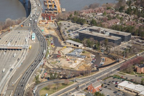 April 2015 - Aerial view of the former NYS police barracks in Tarrytown, near the bridge's Westchester landing.