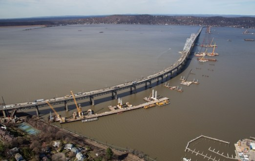 April 2015 - Aerial view of the New NY Bridge project site near the Westchester shoreline.