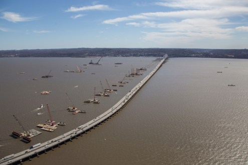 April 2015 - The new crossing's foundations lying parallel to the existing Tappan Zee Bridge.