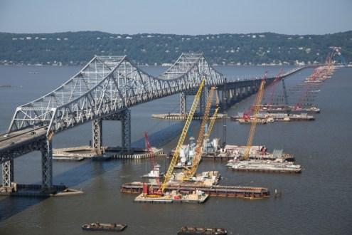July 2015 - The new bridge's footprint emerges from the Hudson River, from the main span foundations to the Rockland approach in the distance.