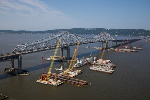 July 2015 - The new bridge's main span foundations progress closer to completion.