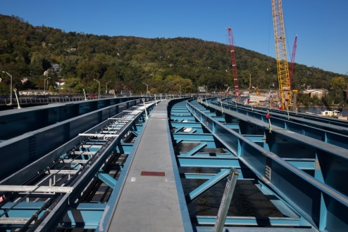 October 12, 2015 - The curved path of the Rockland approach takes shape with new steel girder assemblies.