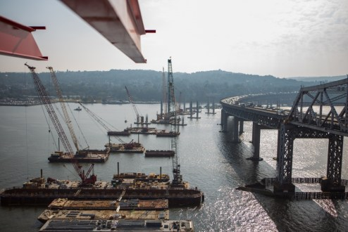 September 2, 2015 - The new bridge's Westchester approach foundations take shape above the Hudson River.