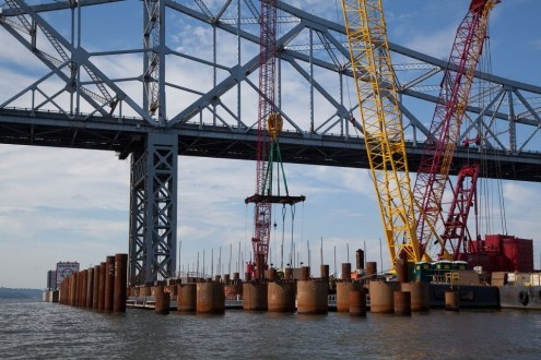 July 2014 - A look at Pier 31 Precast pile cap installations from the river