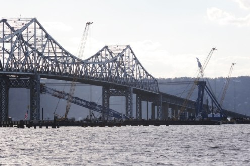 October 8, 2014 - I Lift NY passing underneath the Tappan Zee Bridge.