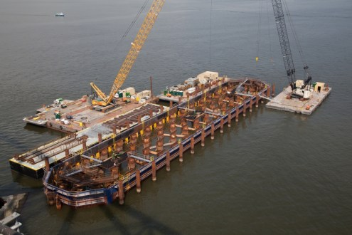 September 5, 2014 - One of the project's main span pile caps after being lowered into the Hudson River.