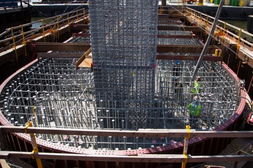 September 10, 2014 - Workers installing rebar cages inside one of the project's approach span pile caps.