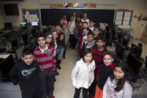 February 10, 2015 - The outreach team with Maria Levine's technology class from Anne M. Dorner Middle school.
