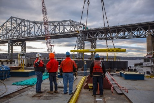 April 24, 2015 - The project team observes the first lift of the I Lift NY super crane.
