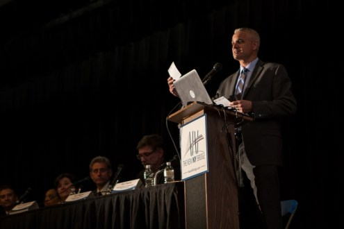 May, 2015 - Brian Conybeare, special advisor to the Governor, reads questions posed by the audience at the 2015 annual public meeting in Westchester.