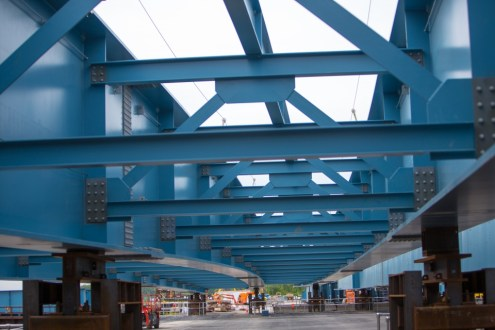 May 21, 2015 - Over 30 miles of steel will be used to create the new bridge's girders.