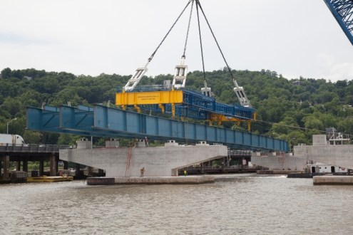 June 17, 2015 - The New NY Bridge project marked another milestone on June 17, 2015 with the placement of the new bridge's first steel girder assembly.