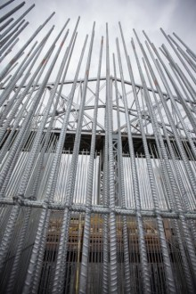 June 4, 2015 - A towering arrangement of galvanized steel stands above one of the new bridge's main span pile caps.