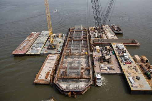 June 12, 2015 - The new bridge's main span foundations are reinforced internally with cages of galvanized steel.