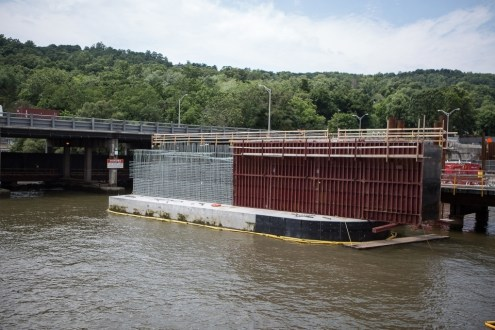 June 30, 2015 - One of the new bridge piers, near Rockland County, is prepared with steel reinforcements.