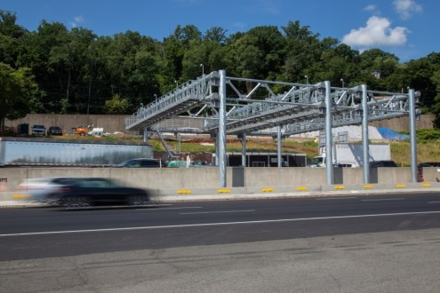 August 7, 2015 - The temporary all-electronic toll collection facility on the southbound New York State Thruway in South Nyack.