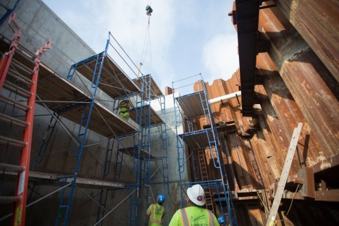 July 14, 2015 - Workers prepare the enormous Rockland abutment, which will support the new bridge's landing.