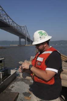 May 2013 - A TZC Geotechnical Engineer reviews soil and core samples from the bottom of the Hudson River.