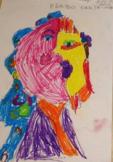 """Эмили, 6 лет.""""В стиле кубизм. Пабло Пикассо"""""""