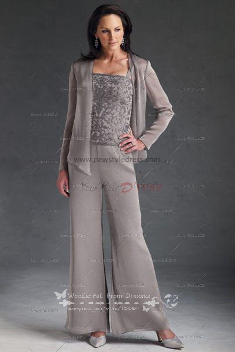 Modish Juniors Lace Silver Dress Pant Suits Cheap Three Piece Chiffon Mor Bride Pant Pant Silver Dressy Pant Suits At Dillards Dressy Pant Suits wedding dress Dressy Pant Suits