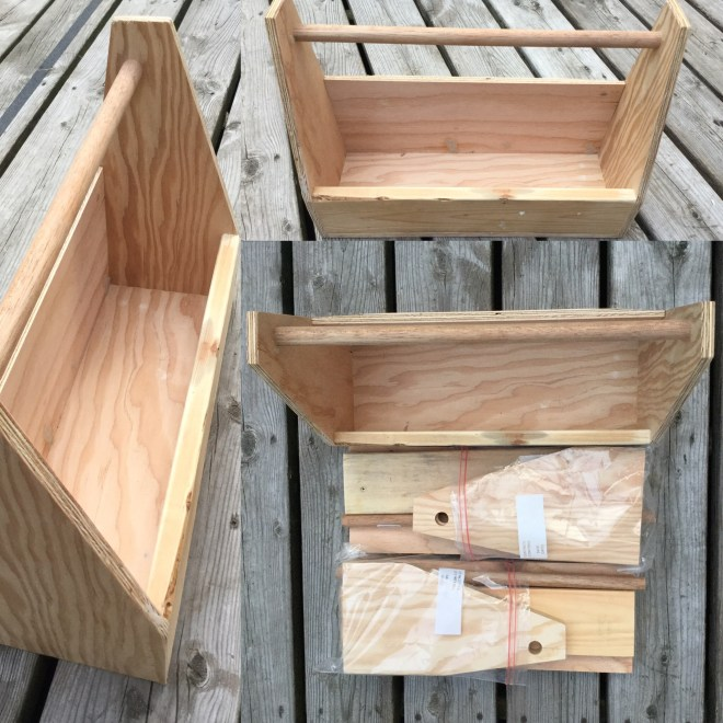 Three-up view of handmade wooden toolboxes