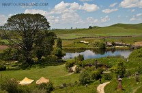 Hobbiton, Party Tree and Party Field on the left with Green Dragon in the background. New Zealand
