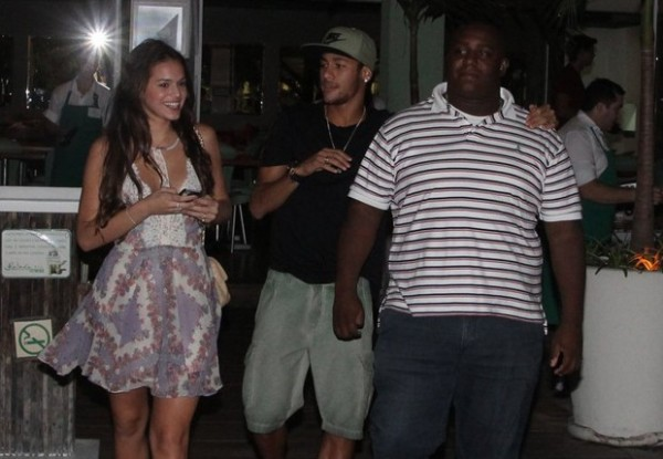 Neymar and his girlfriend Bruna Marquezine, coming out of a restaurant in Brazil