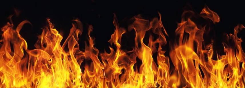 burning fire flame on black background