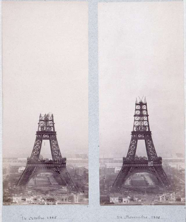 Eifelio bokšto statybos. 1888 m.