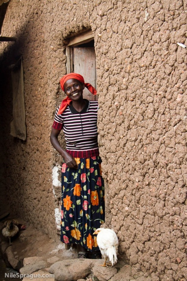 Woman in door to her home, Rwanda
